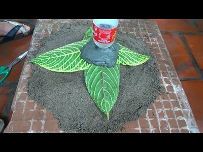 DIY - Cement Fine Art - Amazing Tree Pot From Cement And Leaves