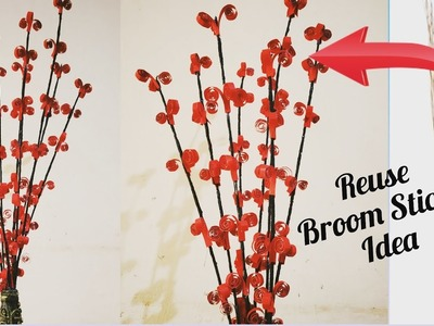 DIY Decorated Broom Sticks. Reuse Broom stick Idea. Decorated Flower Sticks. Home Decor