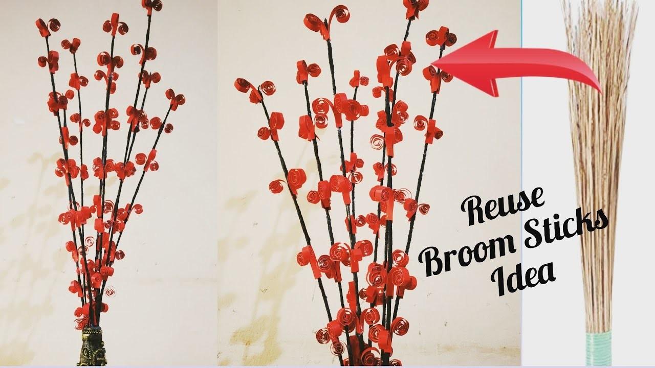 DIY Decorated Broom Sticks. Reuse Broom stick Idea. Decorated Flower Sticks. Home Decor