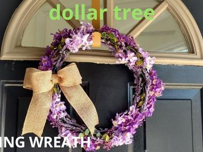Diy dollar tree  spring lavender wreath.diy spring wreath. diy dollar tree wreath