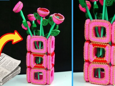 DIY Flower Vase Out Of Waste Newspaper and Wool   Flower Vase Making At Home   Home Decor