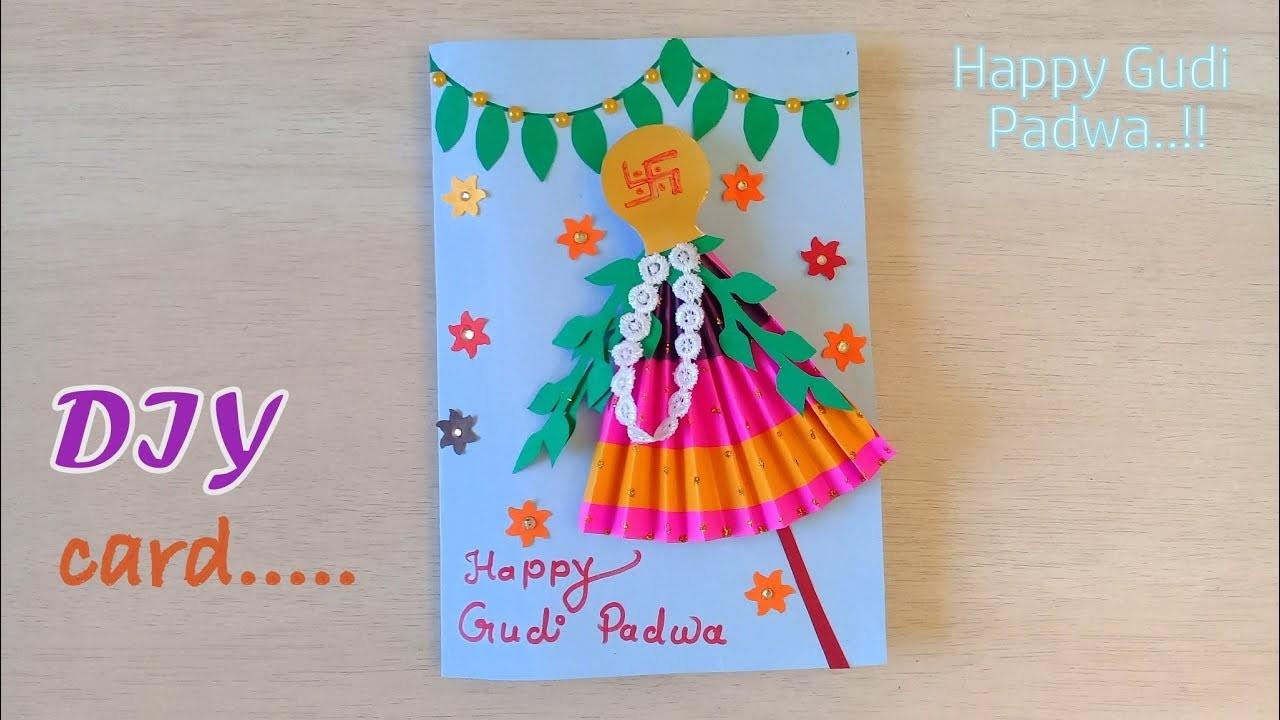 DIY Handmade Gudi Padwa Greeting Card   Happy Gudi Padwa card idea.