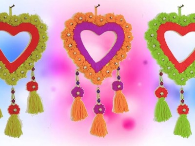 DIY heart Wall Hanging using wool - Tassel and flowers | Room decor craft with waste wool