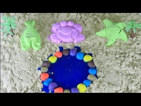 DIY How To Make Fish Pond with Kinetic Sand, Slime, Play Doh