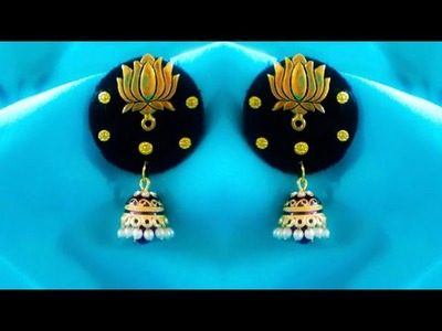 DIY||How to reuse old jhumkas in to new designer jhumkas.Making New Model Fabric Jhumkas