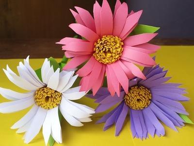 DIY: চমৎকার একটি কাগজের ফুল তৈরি করুণ নিজেই খুব সহজে। How to make paper Aster flower stick!!