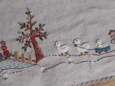 DIY 프랑스자수 쉬운 기법들로 테이블 매트 만들기 │ Embroidery Table Mat │ How To  Make Crafts Tutorial