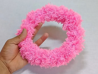 DIY room decor idea with wool   Woolen wreath Hanging For Decoration   Wool Craft for Room Decor