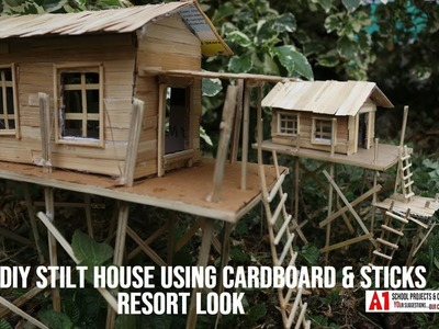 DIY Stilt House Using Cardboard and Sticks | School Project | Types of Houses