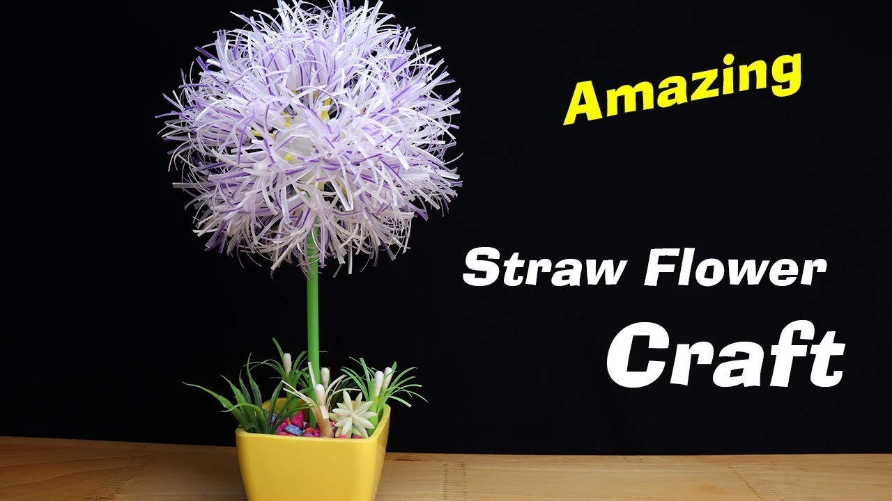 DIY Straw flower - How to make amazing Hydrangea Flower from Drinking Straw