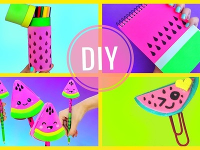 DIY WATERMELON SCHOOL SUPPLIES for Back to School | Easy & Cute CRAFTS