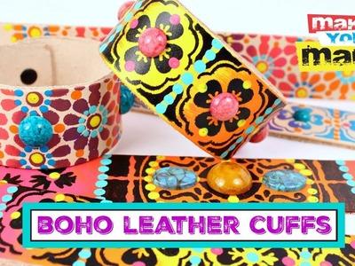 Easy Boho Leather Cuffs DIY