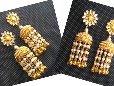 How To Make Beautiful Pearl Jhumar Earrings | Designer Jhumkas Making |Partywear| DIY Pearl Jewelry