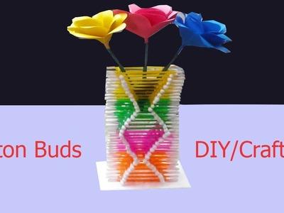 Make Amazing Flower vase using Cotton buds - DIY Cotton buds crafts