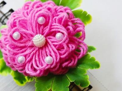 Woolen flower making. DIY. step by step