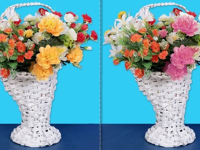 WOW !!! DIY : Newspaper Flower Basket Making at Home || DIY Room Decor !!!