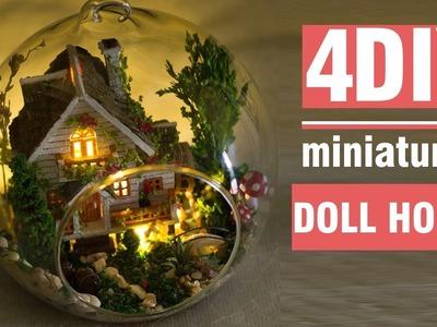 4 DIY Miniature Modern House (with Crystal ball, LED lights, etc. )
