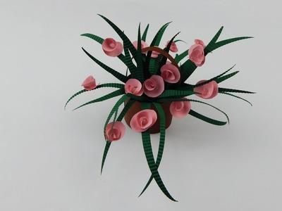 Decoration basket with flowers DIY quilling flower Deko Korb mit Blumen