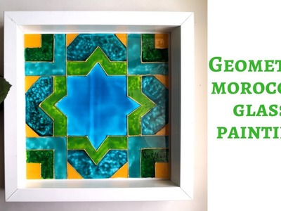 Easy glass painting design for beginners| geometric moroccan pattern| DIY wall decor