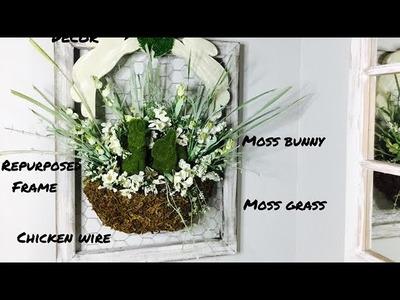 Farmhouse Style Spring Easter Decor.DIY Moss Basket