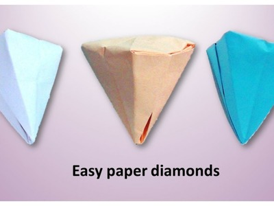 How to make easy paper diamonds (paper folding art: origami) step by step (coco art & craft)