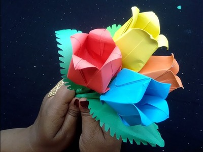 Origami Paper tulip How to create a paper tulip for vase. গোলাপের কুড়ি কিভাবে তৈরি করবেন।