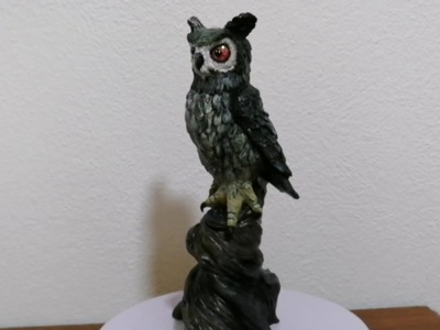 Polymer clay European Eagle-owl Sculpture - Part 2 (painting the owl).