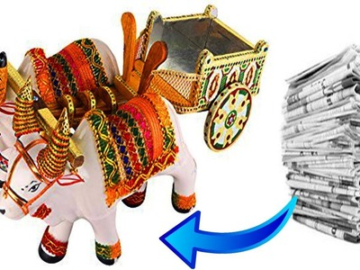 Quilling Bullock Cart. Best from Waste. Paper Bull Cart. Miniature Quilling. Quilling showpiece