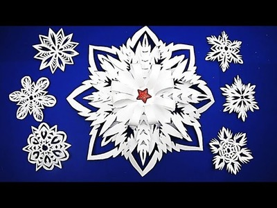 3D Snowflake - Paper snowflake - How to Make 3D Paper Snowflakes for Christmas decorations ш8