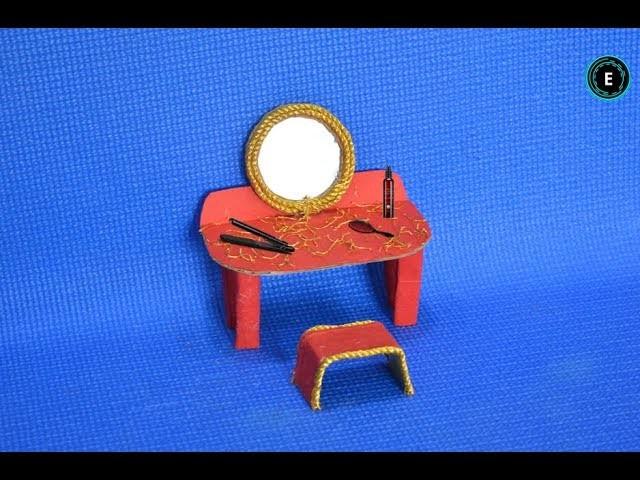 Barbie Mini Dressing Table | How To Make DIY Miniature Dressing Table For Doll | Miniature Crafts