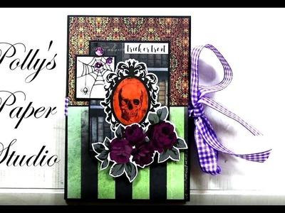 Day 12 of 13 Days of Halloween Accordion Mini Album Scrapbook Polly's Paper Studio Tutorial Process