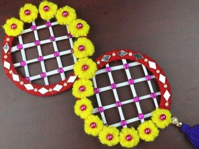 DIY arts and crafts || Pom Pom Door Hanging - How to Make Door Hanging Toran - Woolen Crafts Idea