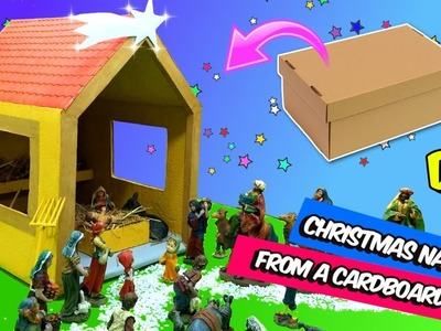 DIY CHRISTMAS CRAFTS | HOW TO MAKE A NATIVITY FROM A CARDBOARD BOX