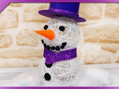 DIY How to make snowman out of yarn, cotton balls (ENG Subtitles) - Speed up #543