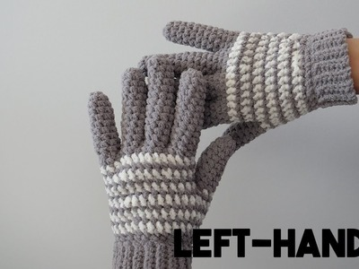 How to Crochet Gloves (left-handed) - Free Pattern