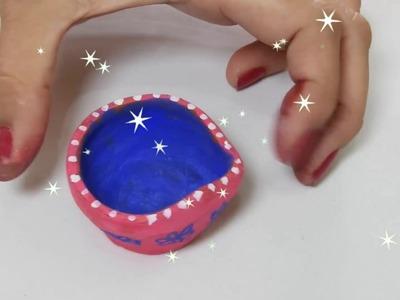 How to decorate Diya. Candle at home. Easy DIY Diya decoration ideas for Diwali.Deepawali