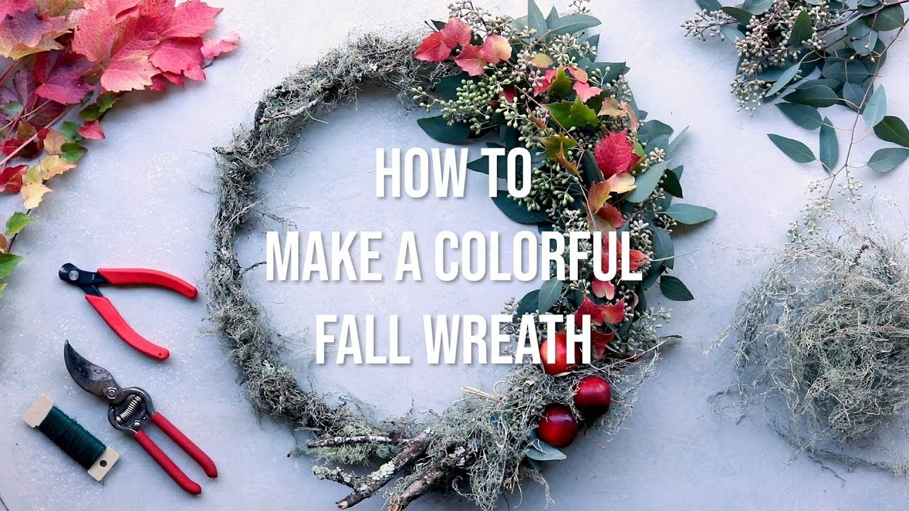 How to Make a Colorful Fall Wreath for Your Front Door | Wreath Making Tutorial