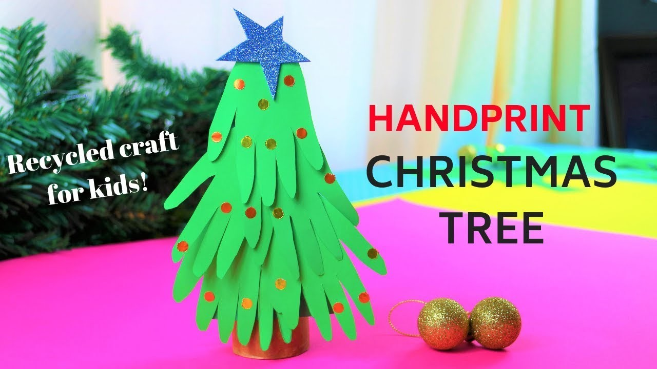 How to make a handprint christmas tree~DIY Christmas ornaments for kids-~paper craft