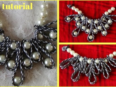 How to make beaded necklace style neckline,too creative pearls & dori design for kurti ,frock,poncha