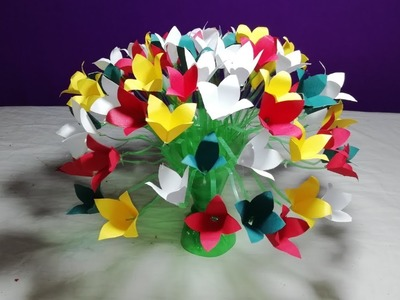 How to make beautiful paper flowers || Make Beautiful Guldasta from plastic bottles _New flowers