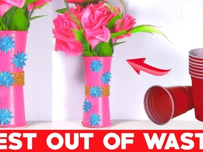 How to Make Coffee Cup Flower Vase | DIY Plastic Bottle Art and Craft Idea | Best Out of Waste Ideas