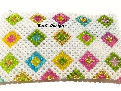 How to make Crystal Purse.Beaded Purse  (Barfi design ). | Nomi.Namita's crafts |