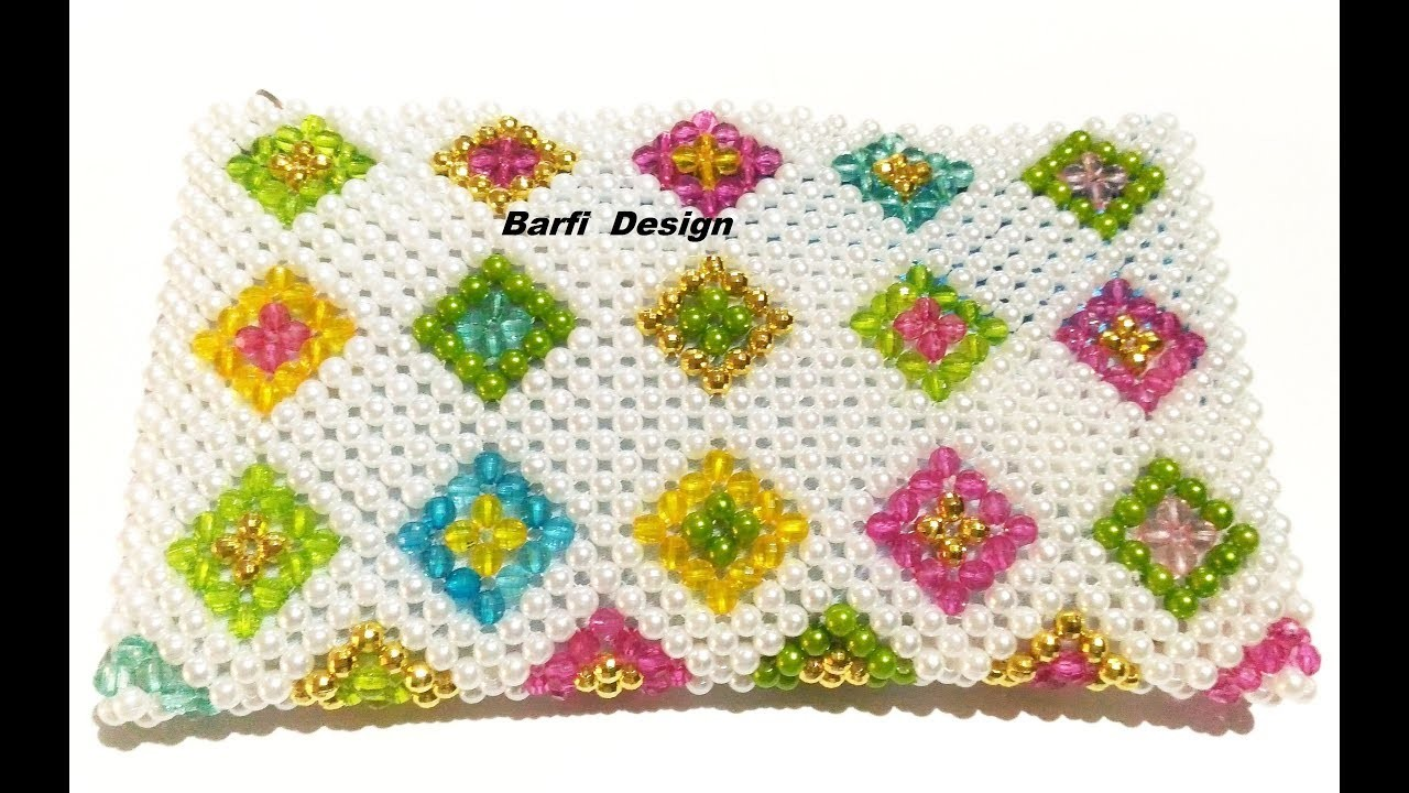 How to make Crystal Purse.Beaded Purse  (Barfi design ). | Nomi.Namita's crafts |