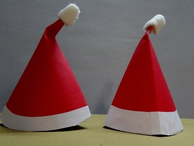 How to make Easy Santa Claus hat Christmas crafts for the whole family