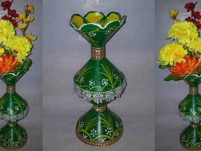 How to make flower vase ||flower vase with plastic cup ||dustu pakhe