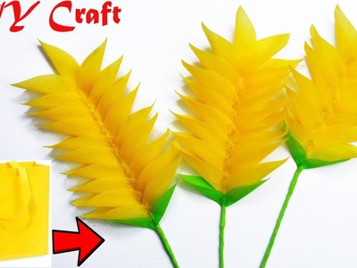 How To Make Heliconia Flower With Fabric Carry Bags || DIY Shopping Bag Flower Making