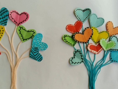 How To Make Mini Paper And Yarn Heart  Balloon For Handmade Card From Sticky Notes   DIY   Balloon.