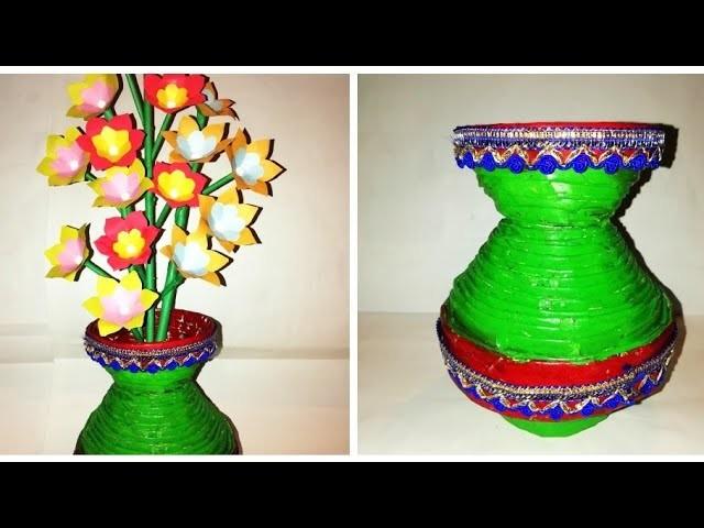 How To Make Newspaper Flower Vase Diy Newspaper Crafts Flowers Healthy