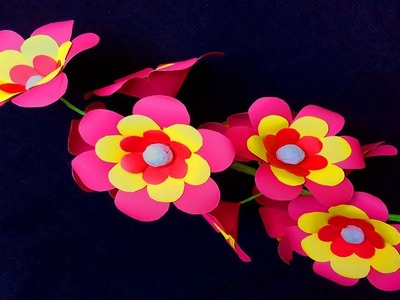 How to make paper flowers easy | flower crafts with paper | paper flower making step by step