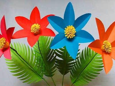 How to make paper flowers easy   flower crafts with paper   easy paper flowers